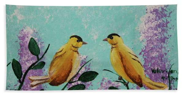 Two Chickadees Standing On Branches Beach Towel
