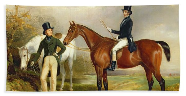 Two Gentlemen Out Hunting  Beach Towel