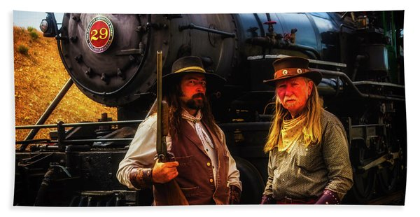 Two Gunfighters In Front Of Train Beach Towel