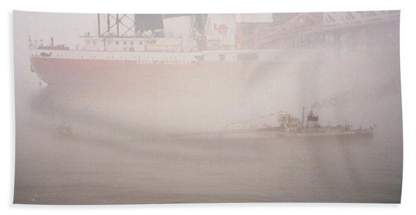 Two Harbors Fog Ship II Beach Towel