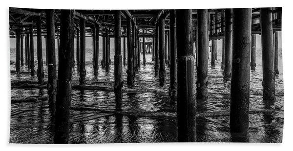 Under The Pier - Black And White Beach Sheet