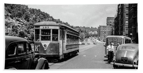 Uptown Trolley Near 193rd Street Beach Towel
