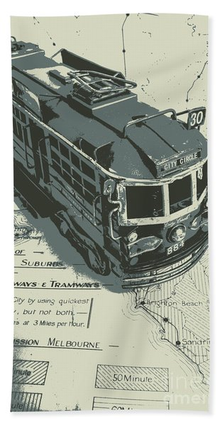 Urban Trams And Old Maps Beach Towel