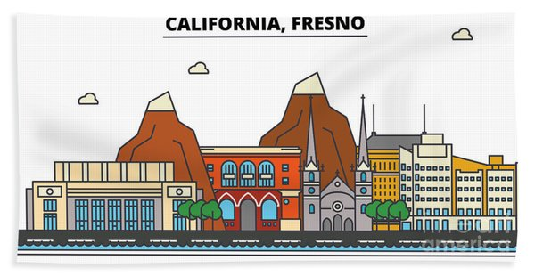Usa, Fresno, California Skyline.city Illustration With Best  Landmarks. Line Art Style Silhouette Cityscape. Urban Retro Design. Beach Towel