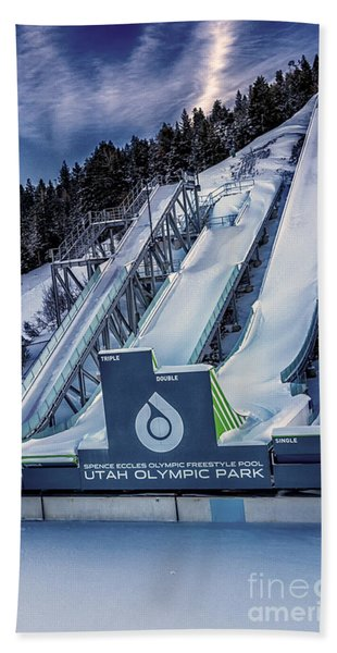 Beach Towel featuring the photograph Utah Olympic Park by David Millenheft