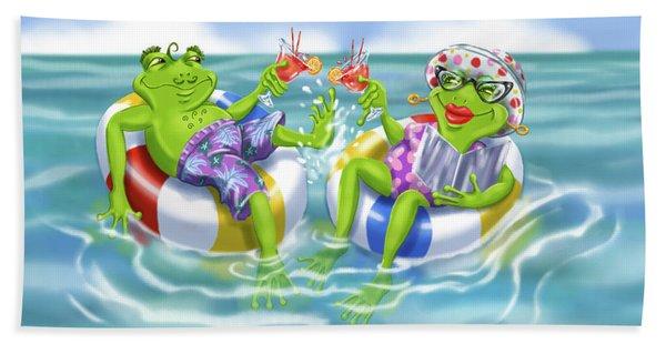 Vacation Happy Frog Couple Beach Towel
