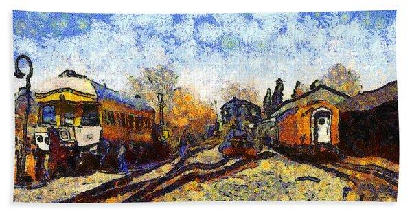 Van Gogh.s Train Station 7d11513 Beach Towel
