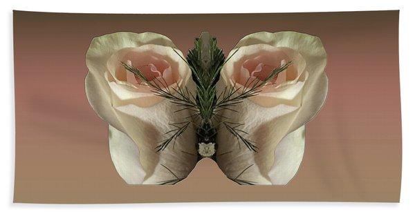 Vanilla Butterfly Rose Beach Towel