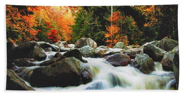 Beach Towel featuring the photograph Vermonts Fall Color Rapids by Jeff Folger