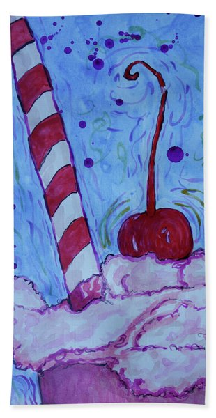 Beach Towel featuring the painting Very Cherry Soda by Jacqueline Athmann