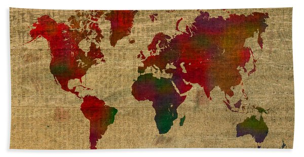 Vibrant Map Of The World In Watercolor On Old Sheet Music And Newsprint Beach Towel
