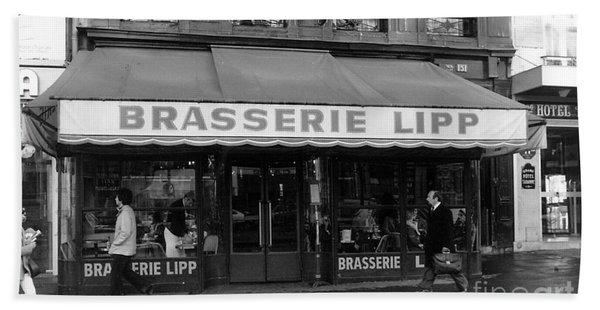 View Of The Lipp Restaurant In Saint Germain Des Pres In Paris On March 2, 1979 Beach Towel