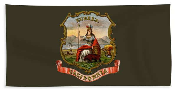 Vintage California Coat Of Arms Beach Towel