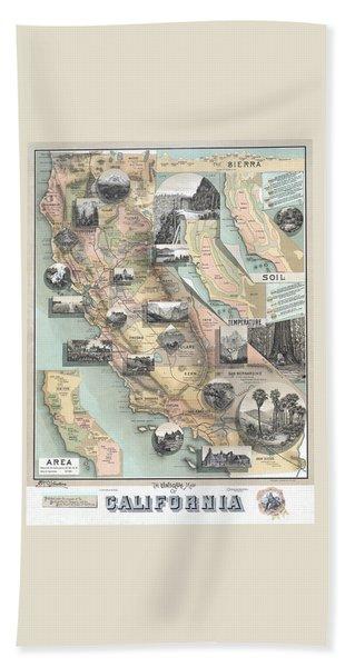 Vintage California Map Beach Towel