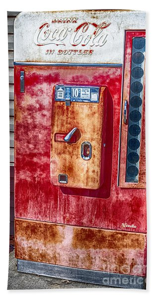 Beach Towel featuring the photograph Vintage Coca-cola Machine 10 Cents Canvas Print,photographic Print,art Print,framed Print, by David Millenheft