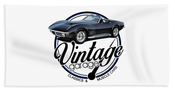 Vintage Garage Black Corvette Beach Towel