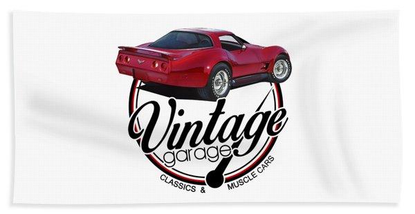 Vintage Garage Corvette Beach Towel