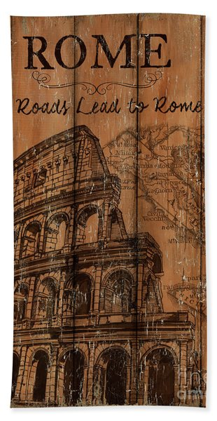 Vintage Travel Rome Beach Towel