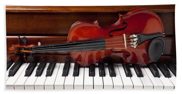 Violin On Piano Beach Towel