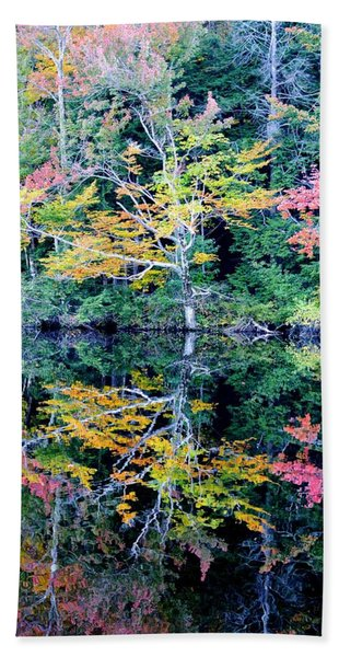 Vivid Fall Reflection Beach Sheet