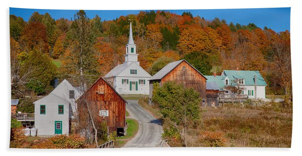 Beach Towel featuring the photograph Waits River Church In Autumn by Jeff Folger