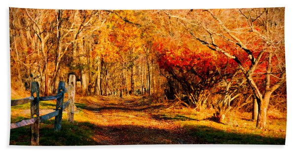 Beach Towel featuring the photograph Walking Down The Autumn Path by Jeff Folger