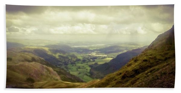Walking In The Mountains, Lake District, Beach Towel