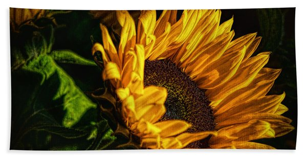Beach Towel featuring the photograph Warmth Of The Sunflower by Michael Hope