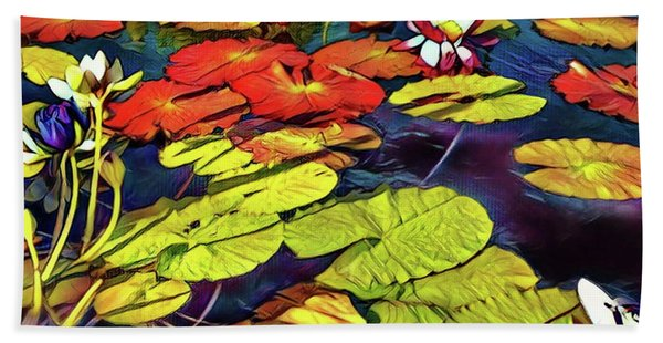 Water Lilly Pond Beach Towel