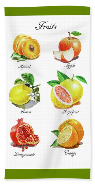 Watercolor Fruit Illustration Collection I Beach Towel