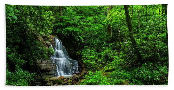 Waterfall And Rhododendron In Bloom Beach Towel