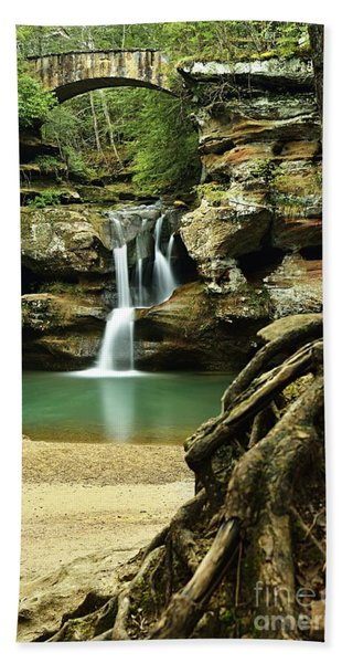 Waterfall And Roots Beach Towel