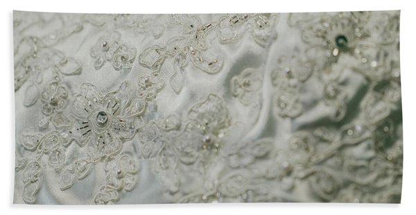 Wedding Dress Floral Beadwork Beach Towel