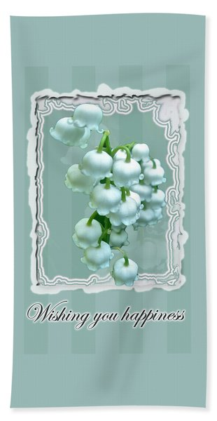 Wedding Happiness Greeting Card - Lily Of The Valley Flowers Beach Towel