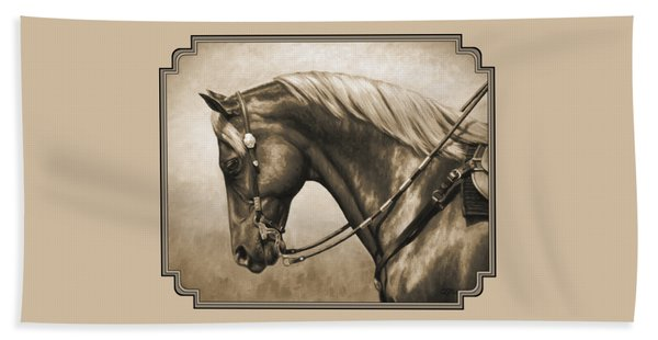 Western Horse Painting In Sepia Beach Towel
