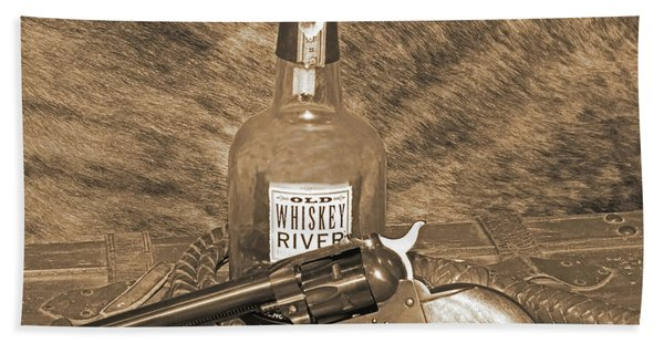Whiskey And A Gun Beach Towel