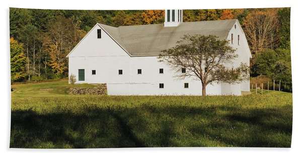 Beach Towel featuring the photograph White Barn In Color by Tom Singleton