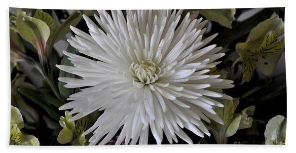 White Chrysanthemum Beach Towel