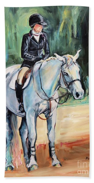 White Horse With Rider  Beach Towel
