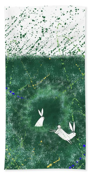 White Rabbits  Beach Towel