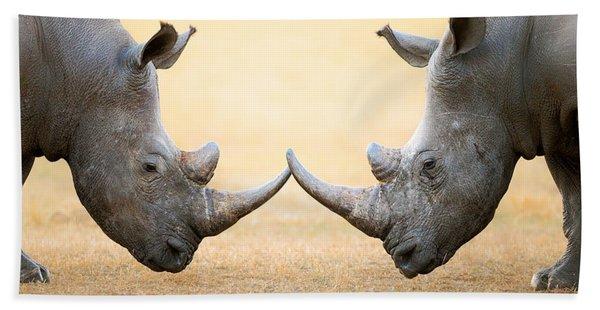 White Rhinoceros  Head To Head Beach Towel