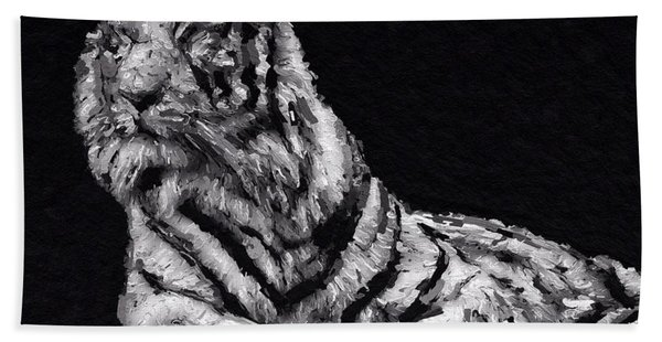 Beach Towel featuring the painting White Tiger by Mark Taylor