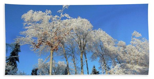 White Trees Clear Skies Beach Towel