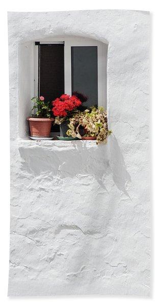 White Window Beach Towel