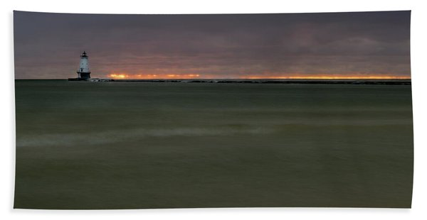 Wide View Of Lighthouse And Sunset Beach Towel