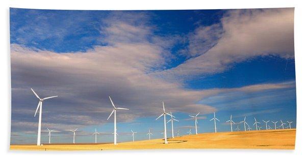 Wind Farm Against The Sky Beach Towel