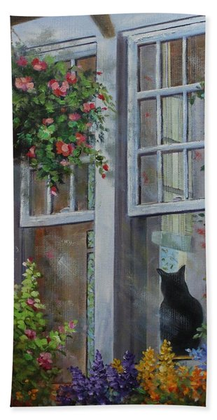 Beach Towel featuring the painting Window Watcher by Judy Bradley
