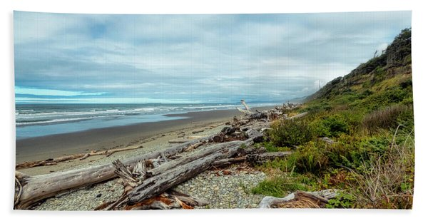 Beach Towel featuring the photograph Windy Beach In Oregon by Michael Hope