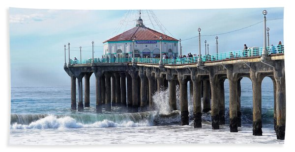 Beach Towel featuring the photograph Windy Manhattan Pier by Michael Hope