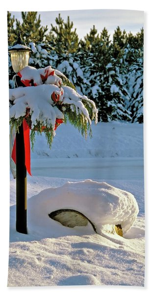 Winter Lamp Post In The Snow With Christmas Bough Beach Sheet